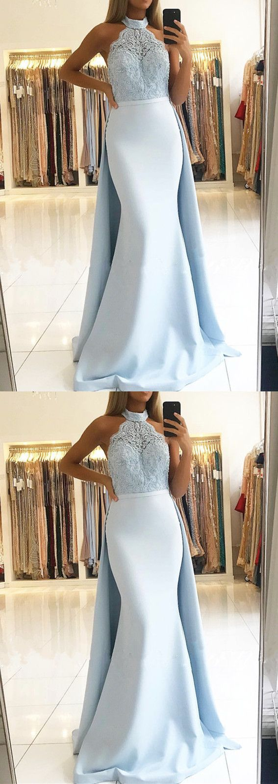 Elegant lace halter mermaid prom dresses detachable skirt in