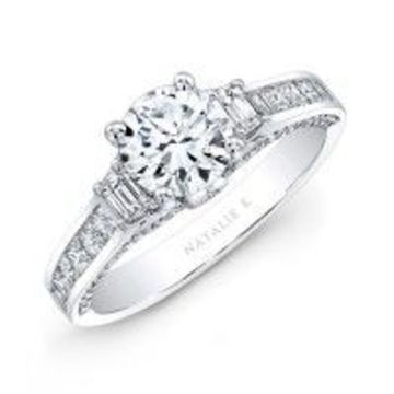 three stone channel set engagement ring