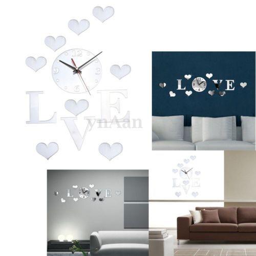 Hagalo-usted-mismo-Novedad-3d-Hogar-Arte-Espejo-Decoracion-Reloj-De-Pared-Dormitorio-Living-Sala-De