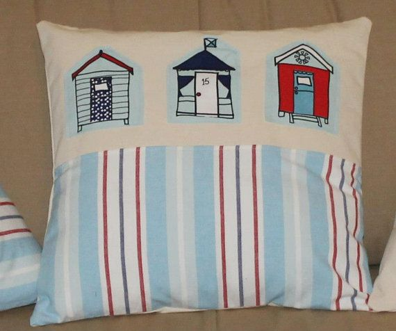 Pillow cover seaside with beach huts by Enchantingcrafts on Etsy, £17.00