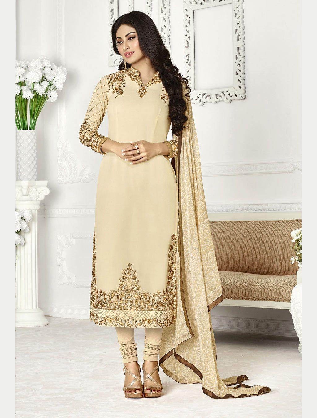 Mouni roy cream georgette churidar suit indian wear