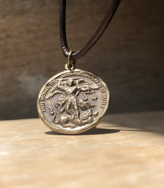84b2e51cdf4 St. Michael the Archangel Medal, Bronze Pendant, Religious Medal, Catholic  Medal, Saint Medal, Saint