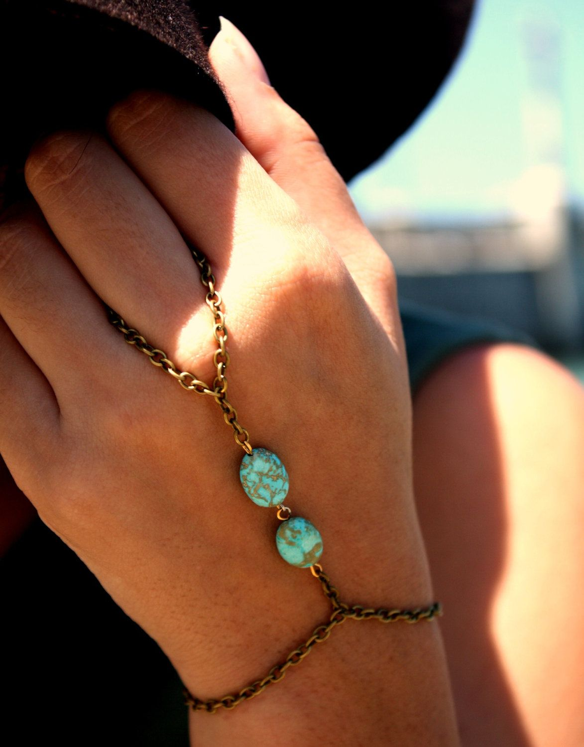 Slave Bracelet Hipster Bronze Chain Bohemian Two Turquoise Beads Hand Jewelry Piece. $13.00, via Etsy.