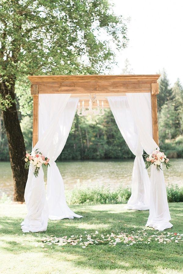 Romantic gold blush riverside wedding arbors romantic for Arch decoration ideas