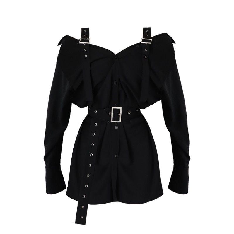 FREE SHIPPING Harajuku Goth Little Black Dress with Buckle Straps Belt Cold Shoulder Bardot Shirt Dress Gothic Party Night Dress JKP2514