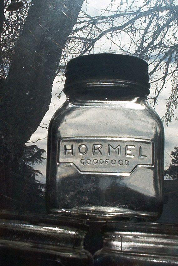 vintage hazel atlas mason jar product packer hormel by