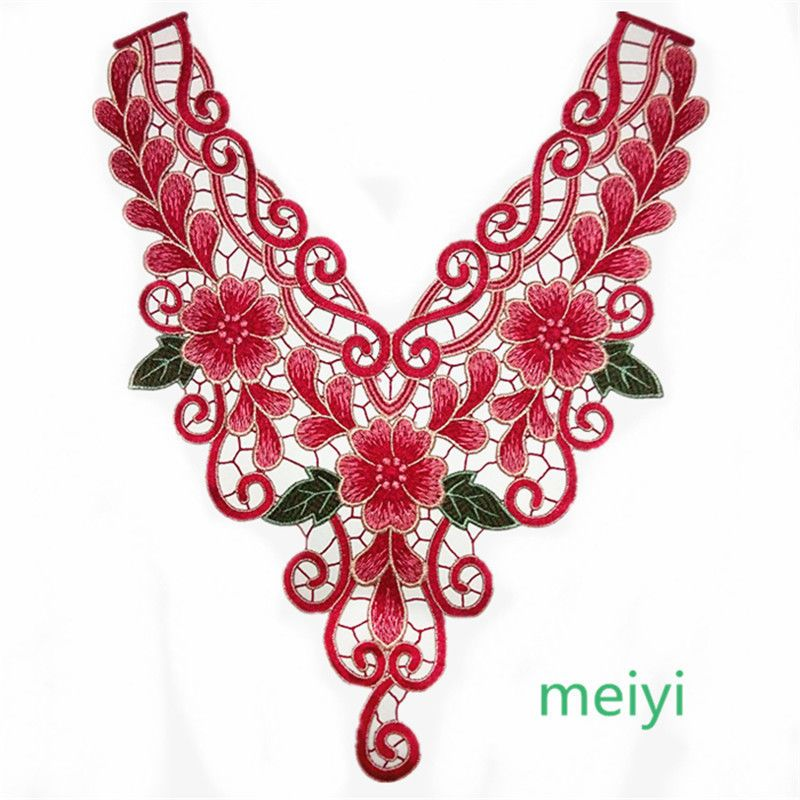 Floral Collar Applique Lace Lace Embroidered Neckline Embroidered Applique