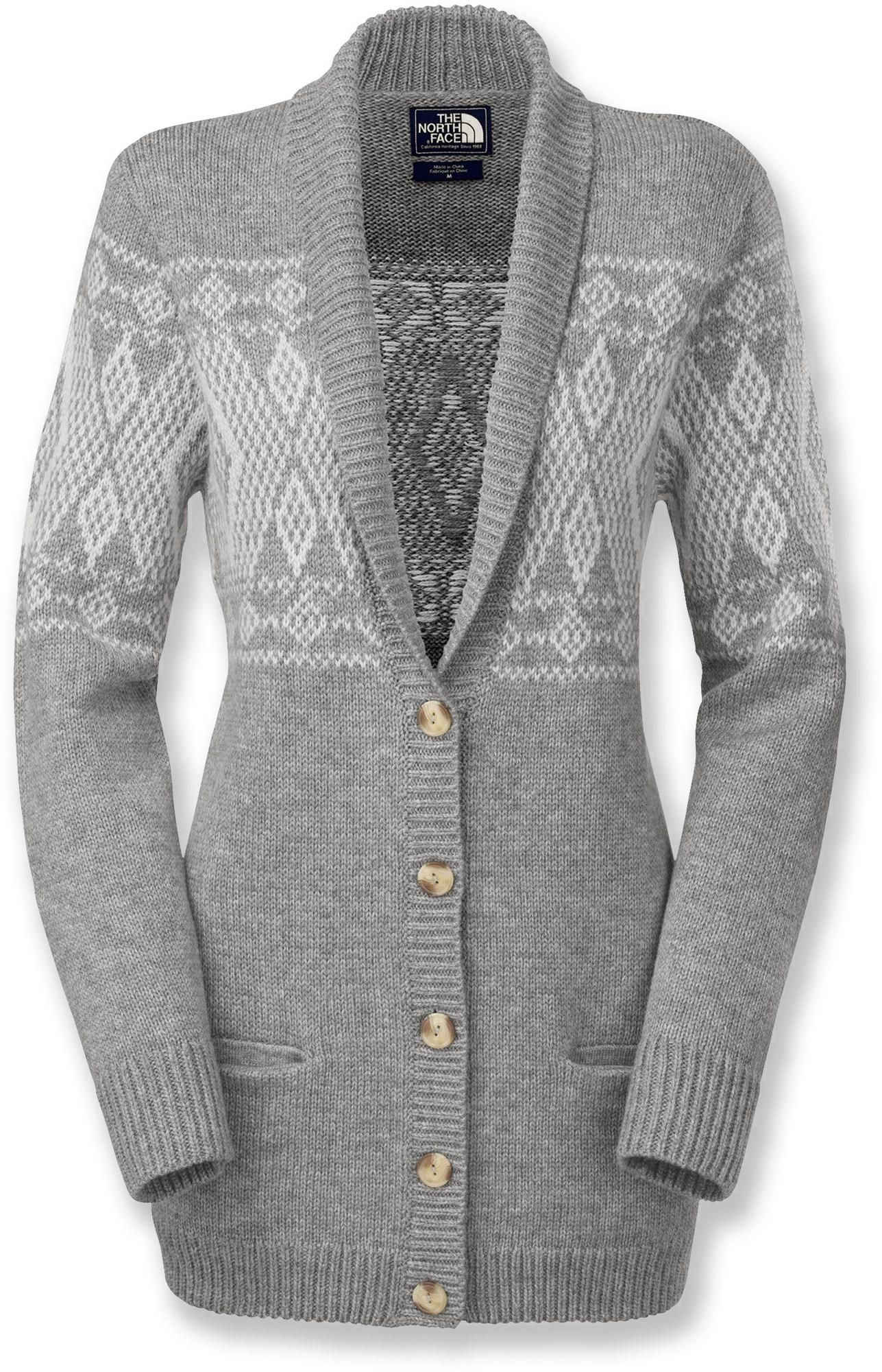 a9a612c0a36b Slip on The North Face Jacquardigan women s cardigan sweater and cozy up  with a cup of hot chocolate after a long