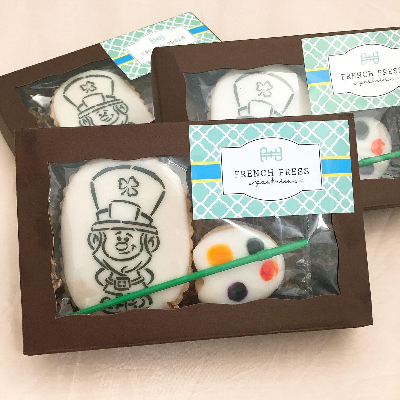 Paint your own cookies! St Patrick's day Frenchpresspastries.com
