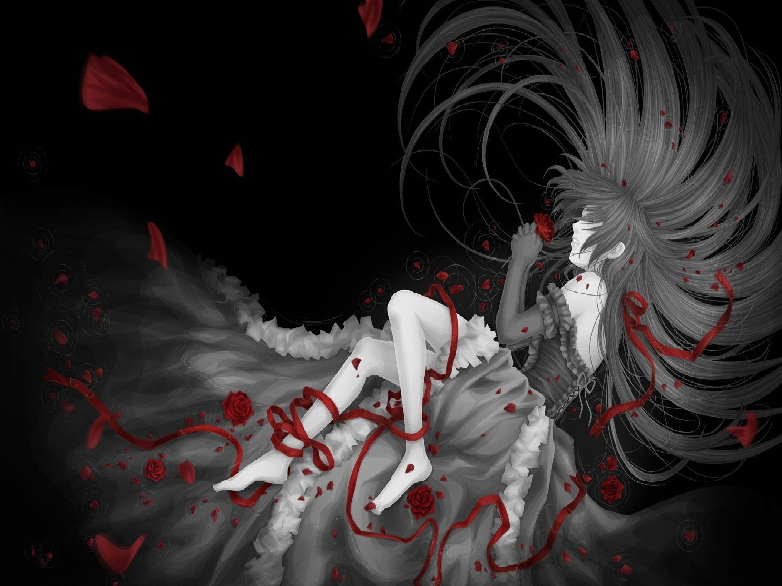 Sad Girl With Rose Wallpaper Dark Anime Wallpaper Android Apps On Google Play 1598 215 1178