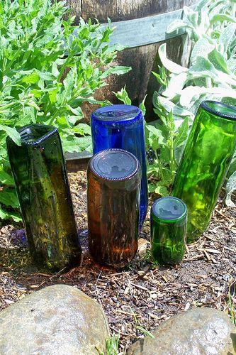 colored glass bottle garden art