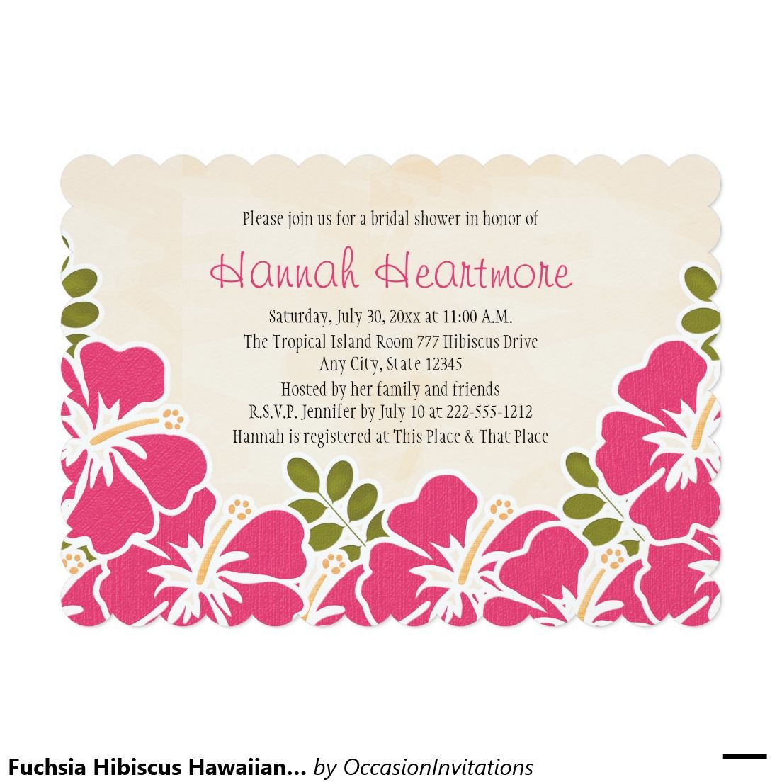 fuchsia hibiscus hawaiian themed bridal shower invitation