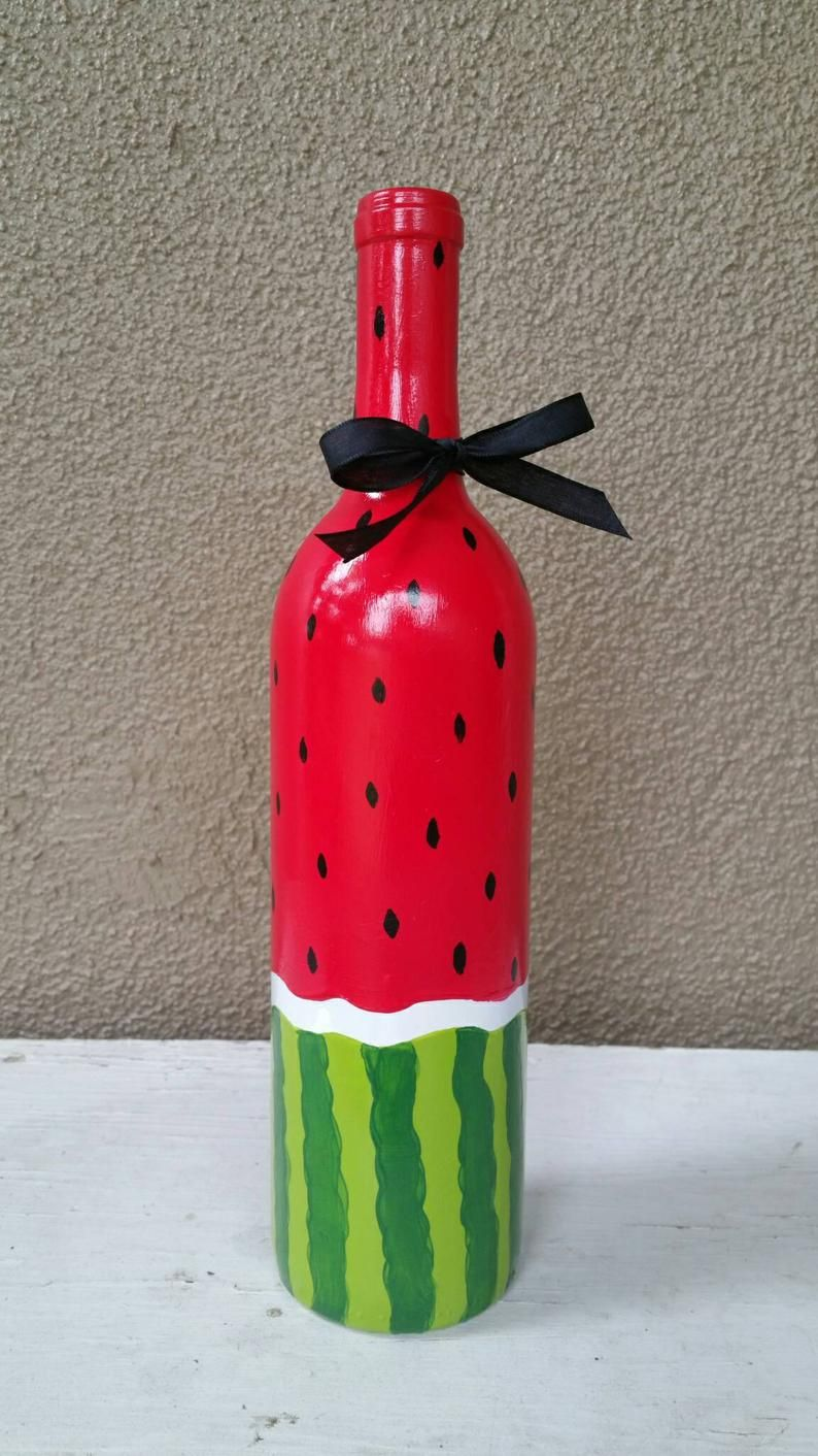 Upcycled Watermelon Wine Bottle Etsy In 2020 Beer Bottle Art Hand Painted Wine Bottles Bottle Art