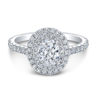 Yup, this is THE PERFECT engagement ring! I found it! White gold double halo with a delicate band and an oval diamond in the center? Like I said, perfect! <3