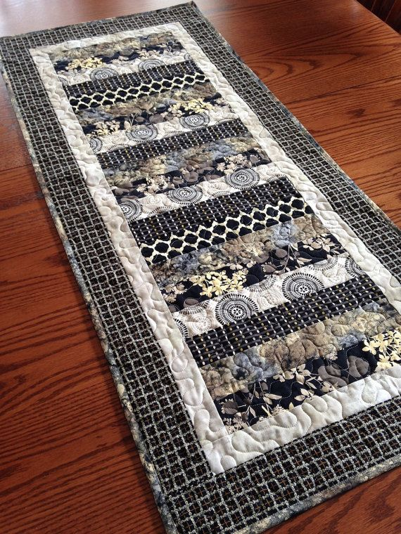 Black Strip Table runner quilted by lmkquilts on Etsy, USD 35.00 Quilts, Quilts, Quilts Pinterest