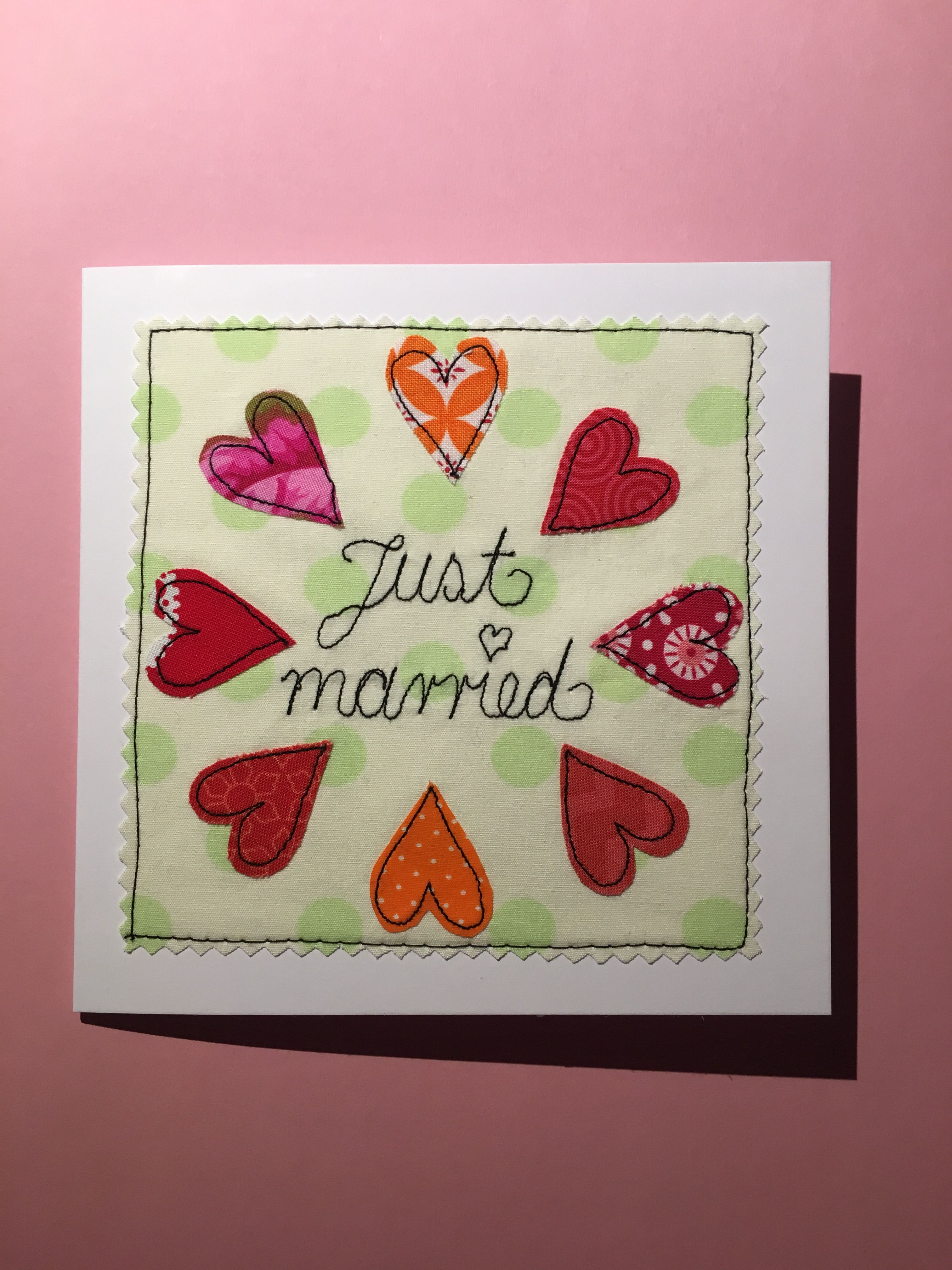 Greeting Card Just Married Fabric Cards Pinterest Fabric