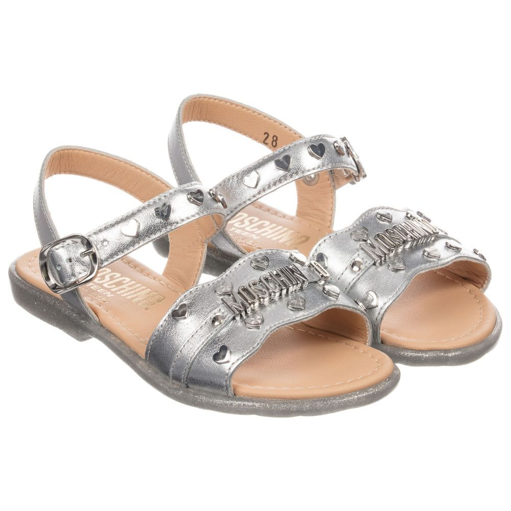 82b9d07c8 Girls metallic silver leather sandals by Moschino Kid-Teen