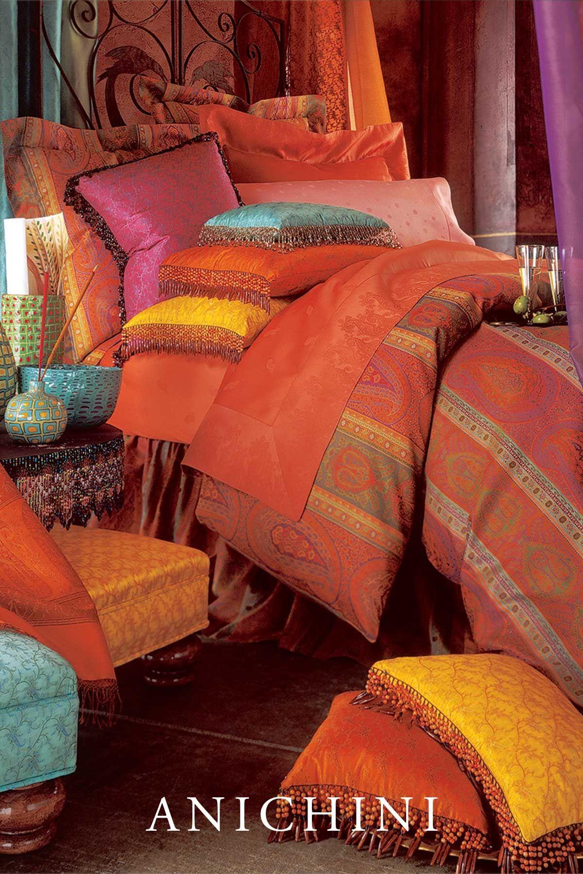 ANICHINI Taj Paisley Jacquard Bedding & Duvet Covers in