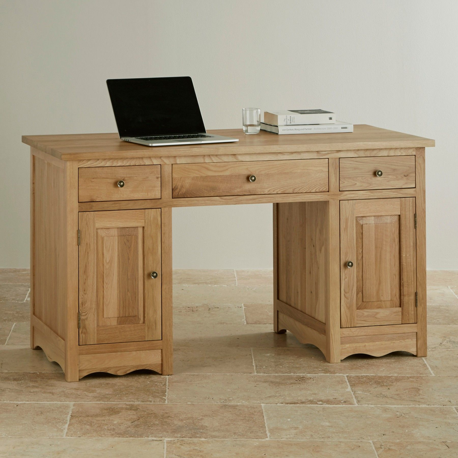 The Cairo Natural Solid Oak Compact Office Desk brings class to your home office.