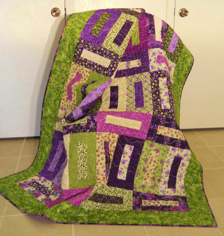 Purple Patchwork Quilt Lilacs Floral Quilt Sofa Throw ...