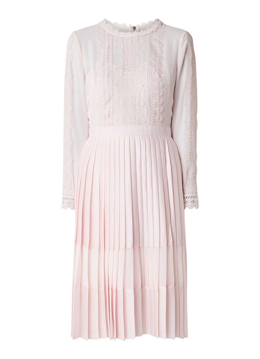 ea1a24477849aa Ted Baker Looez A-lijn jurk met plissé en kantdetail • de Bijenkorf ...