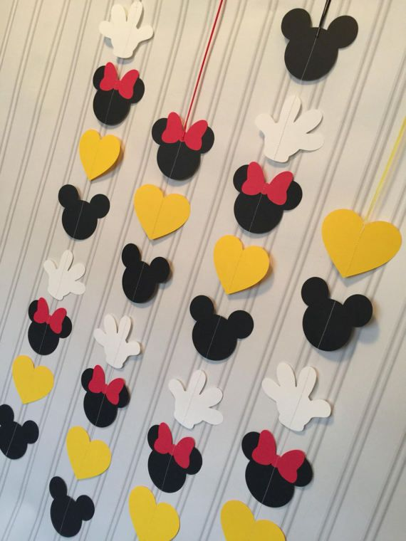 Mickey and Minnie Garlands set of 4 or 8 VERTICAL, Mickey Mouse and Minnie Mouse Birthday garland, Mickey mouse and Minnie Mouse party decor