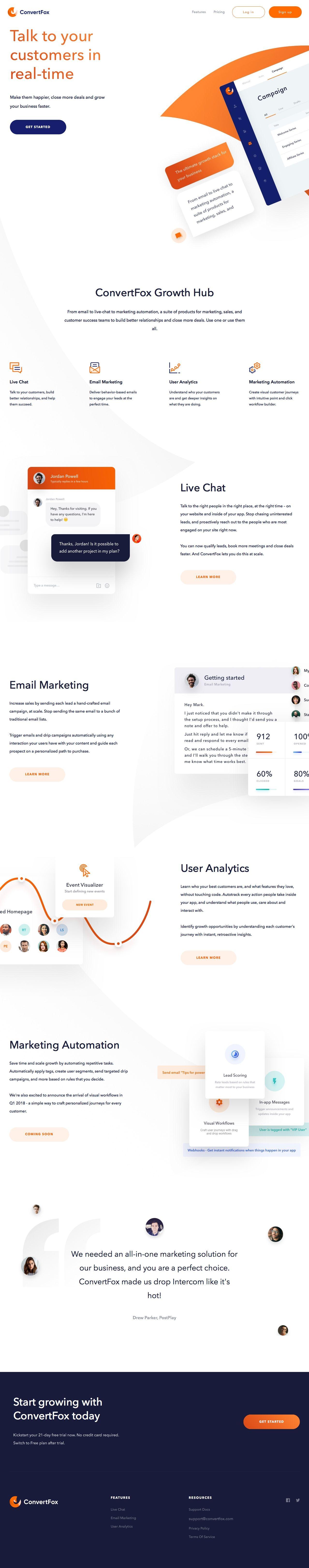 Convertfox landing page design inspiration website