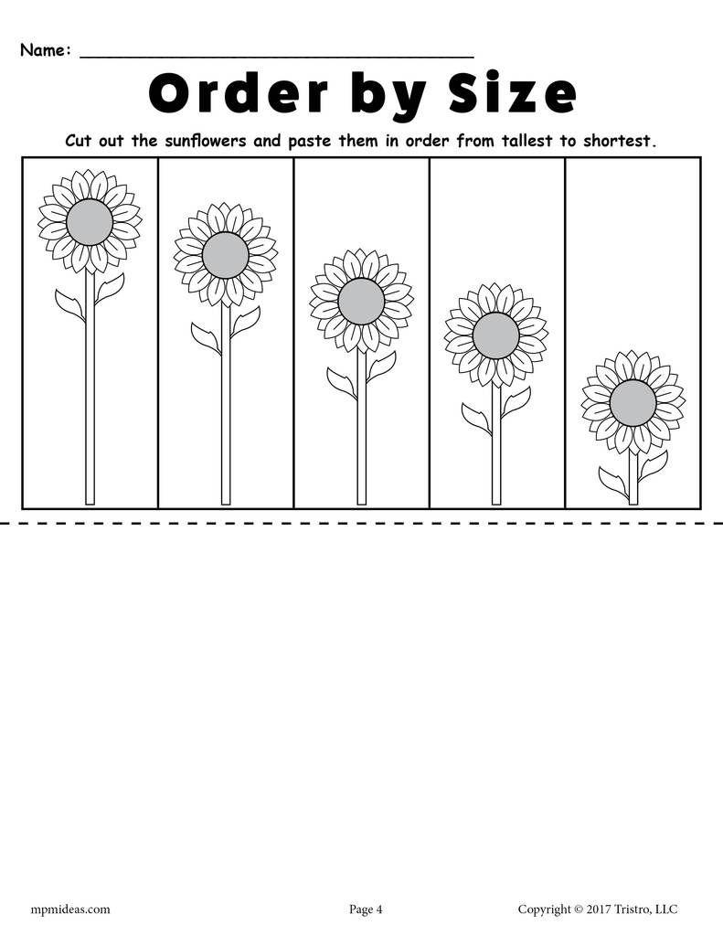 Printable Sunflower Ordering Worksheets Shortest To Tallest Tallest To Shortest Kindergarten Worksheets Free Printables Free Kindergarten Worksheets Pre K Worksheets [ 1024 x 791 Pixel ]