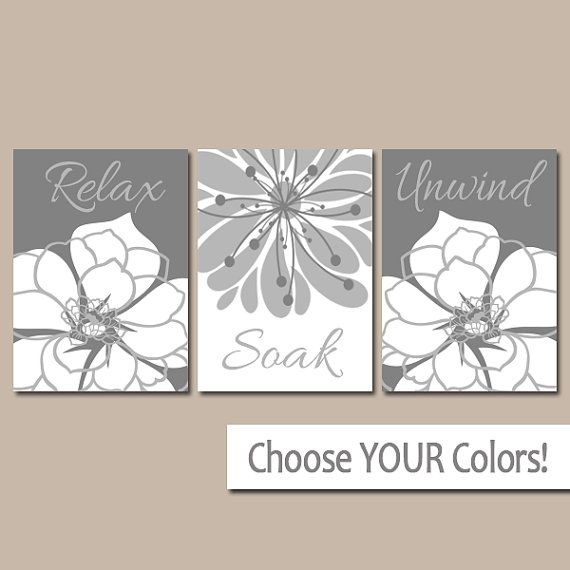 gray flower bathroom wall art bathroom quote canvas or prints rh pinterest com