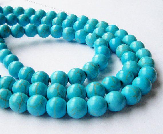 8 mm White TurquoiseHowlite Round Bracelet