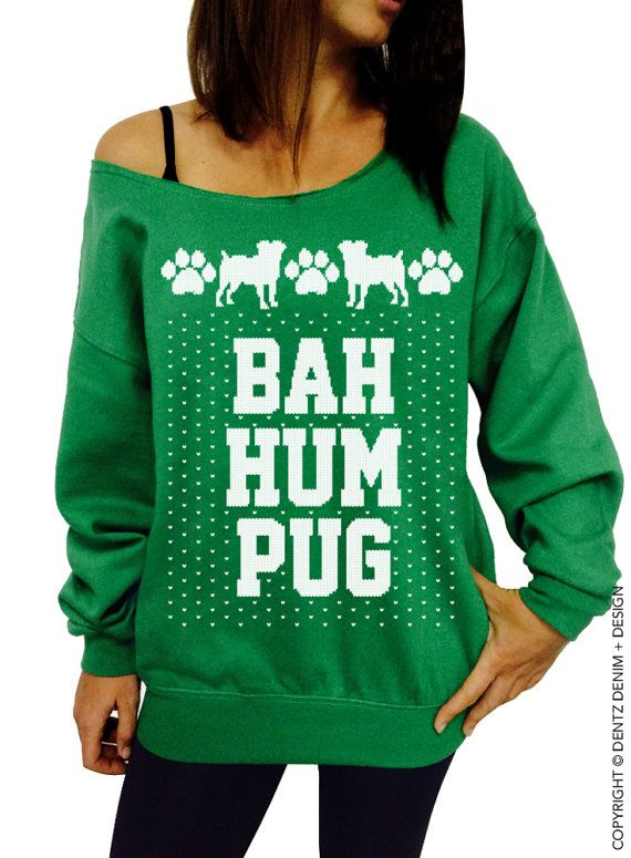 coupon code pinterest bah hum pug ugly christmas sweater green slouchy oversized