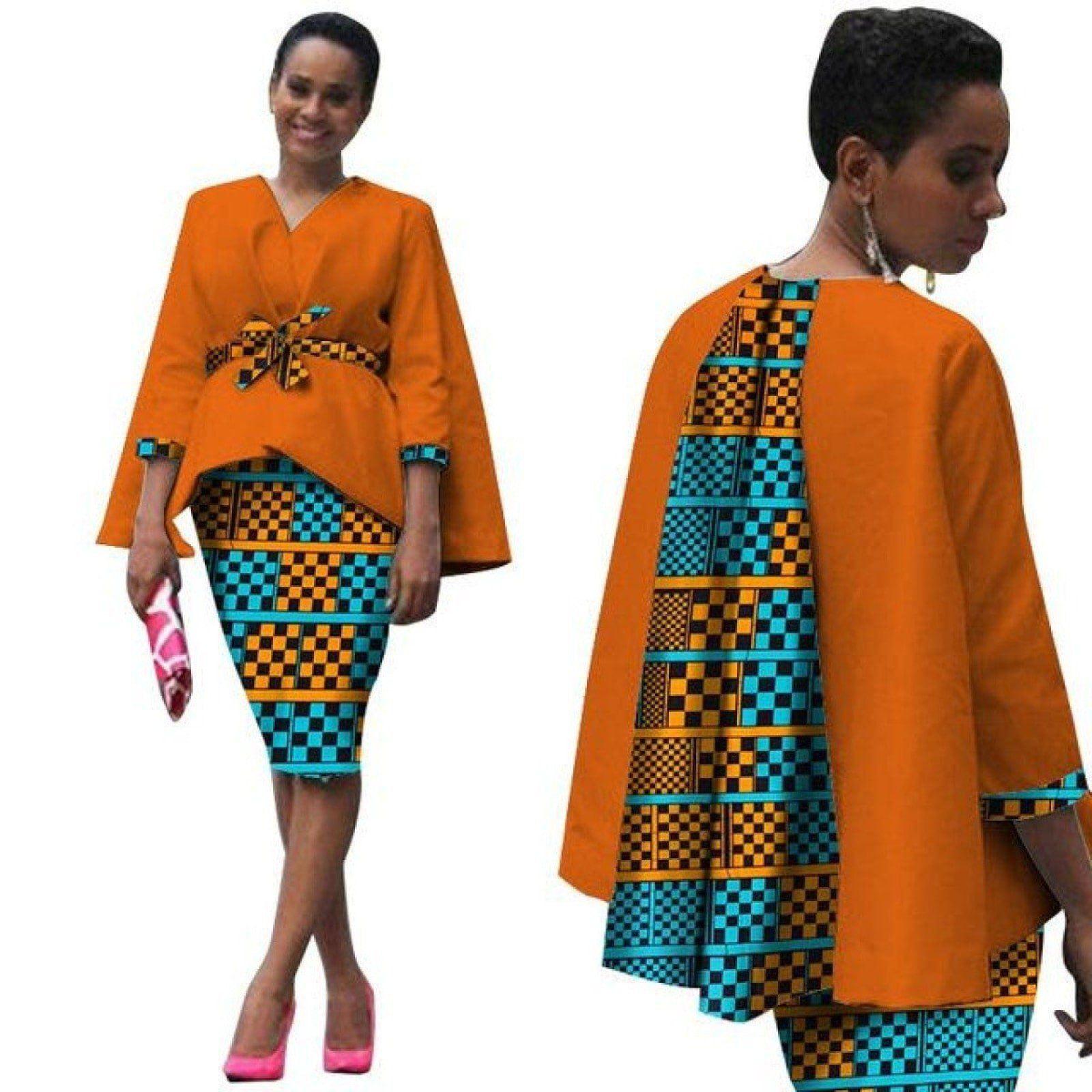 0d17806e39d Africa Style Women African Clothing  2 Piece Set Dress Suit for Women Tops  Jacket and Print Skirt Clothing  owame11