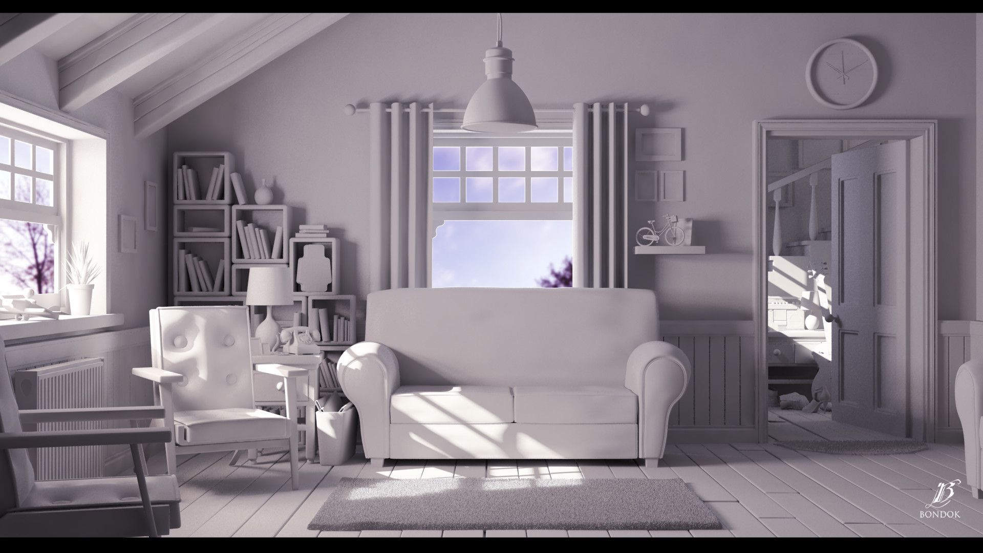 ArtStation Cartoon living room, bondok max 디자인, 3d 디자인