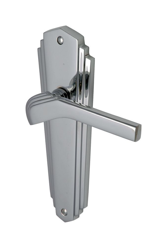 Details About Door Handle Pair Chrome Lever Backplate