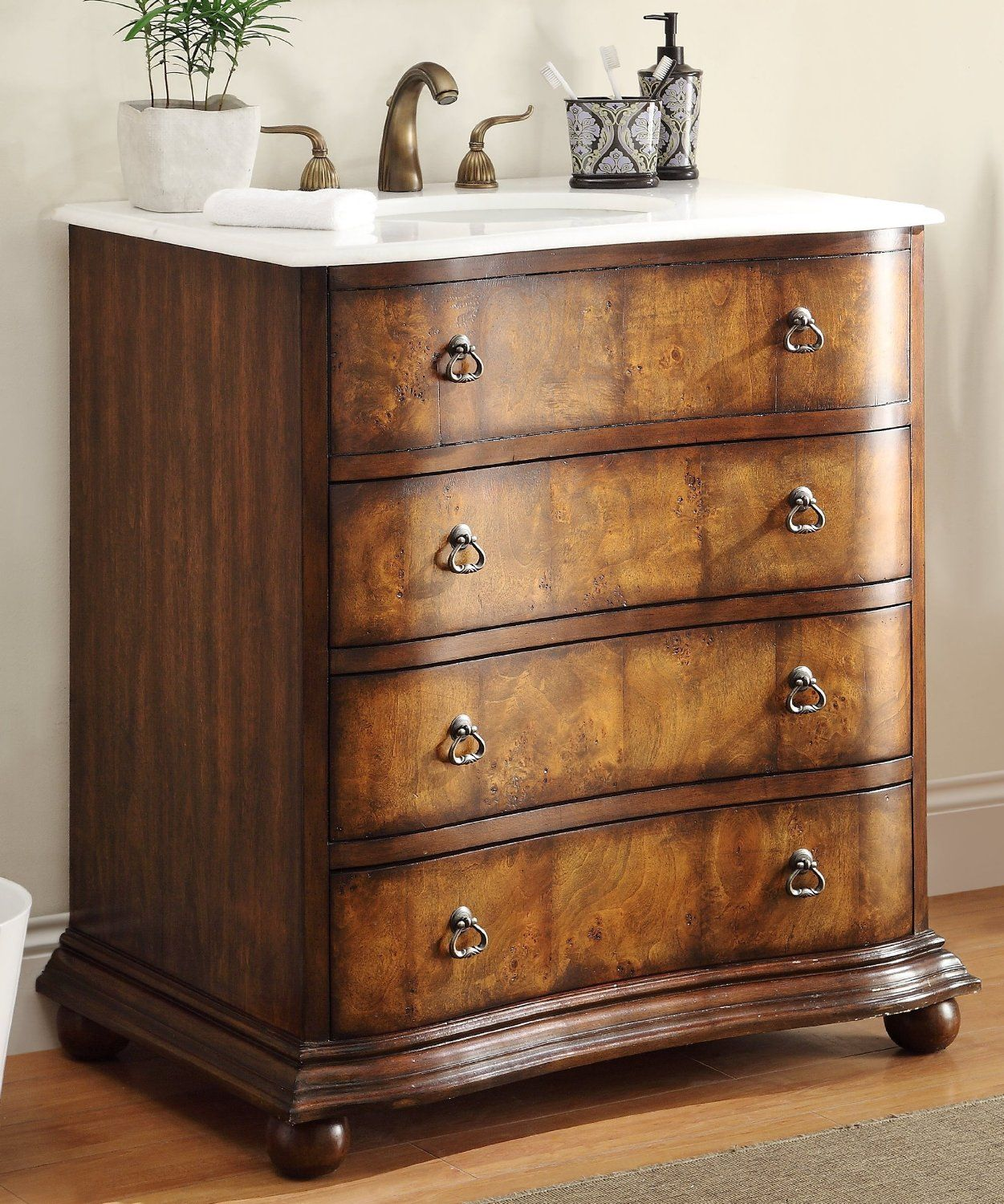 Adelina 34 Inch Antique Single Sink Bathroom Vanity Delicate Sink