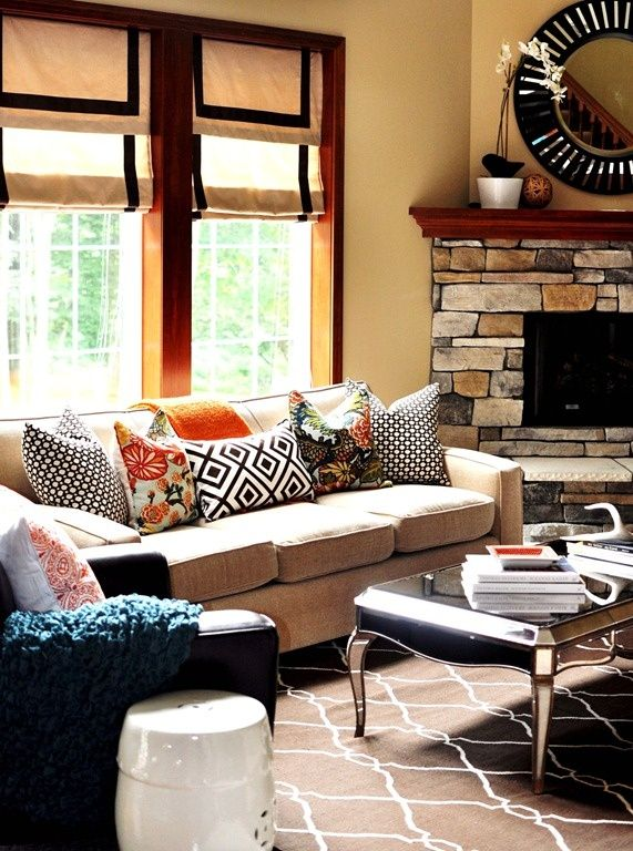 Mix Of Pillows Rug Shades Furniture Placement With A