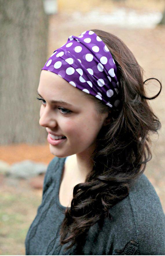 purple dotted head scarf headband hairstyle hair