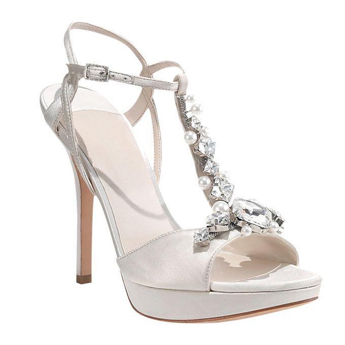 7078666f764 Ivanka Trump - Satin Open-Toe Heels with Rhinestone T-Strap Wedding ...