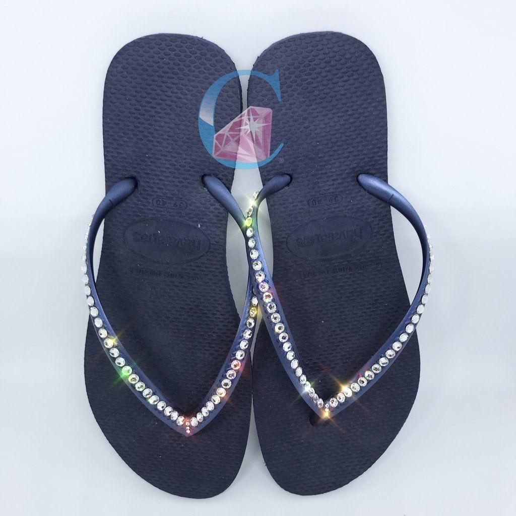 ccf035088dd6 Navy Thin Strap SWAROVSKI® embellished Havaianas - 1 Row
