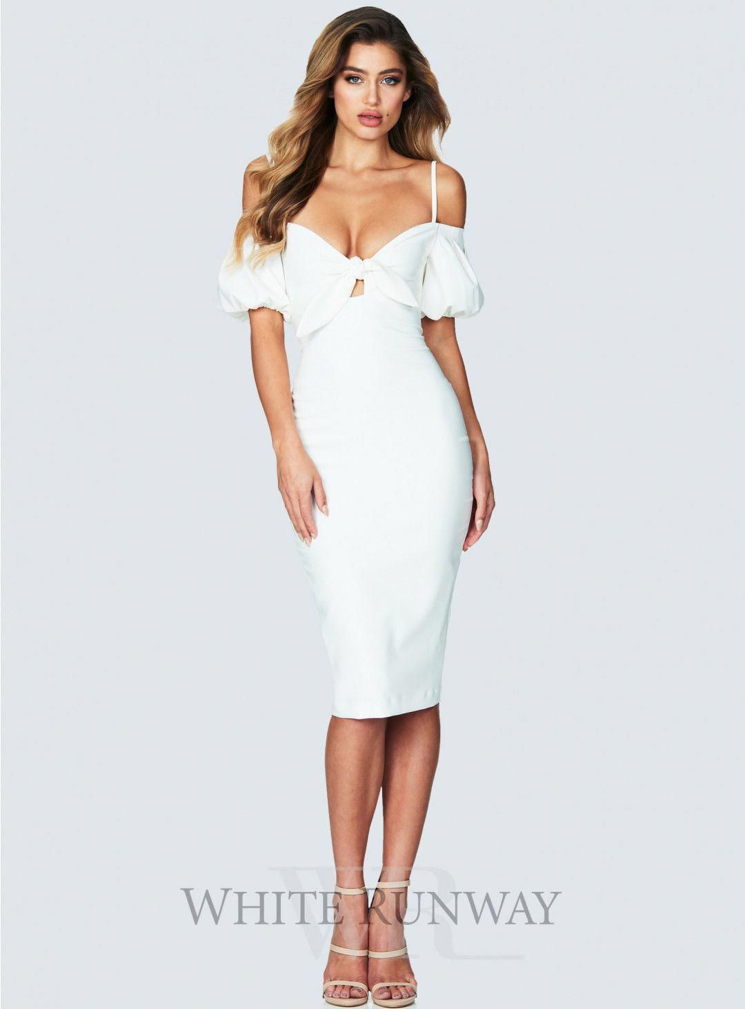3142cbd6eaf Belle Midi. A stunning bodycon midi by Nookie. An off shoulder style  featuring bow tie at the bodice and flared sleeves.  bridesmaidfashion   fashion ...