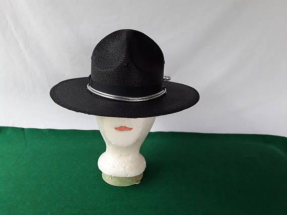 Navy Blue Campaign Hat w Silver Cord   Acorns Straw Triple ... 1b54ee2a0ca