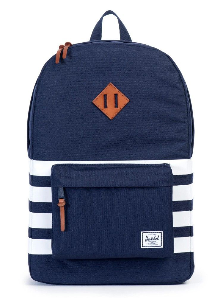 4cb7869443b A fun update to the classic Herschel backpack. Find the Heritage Stripe  Peacoat pack at Stance.