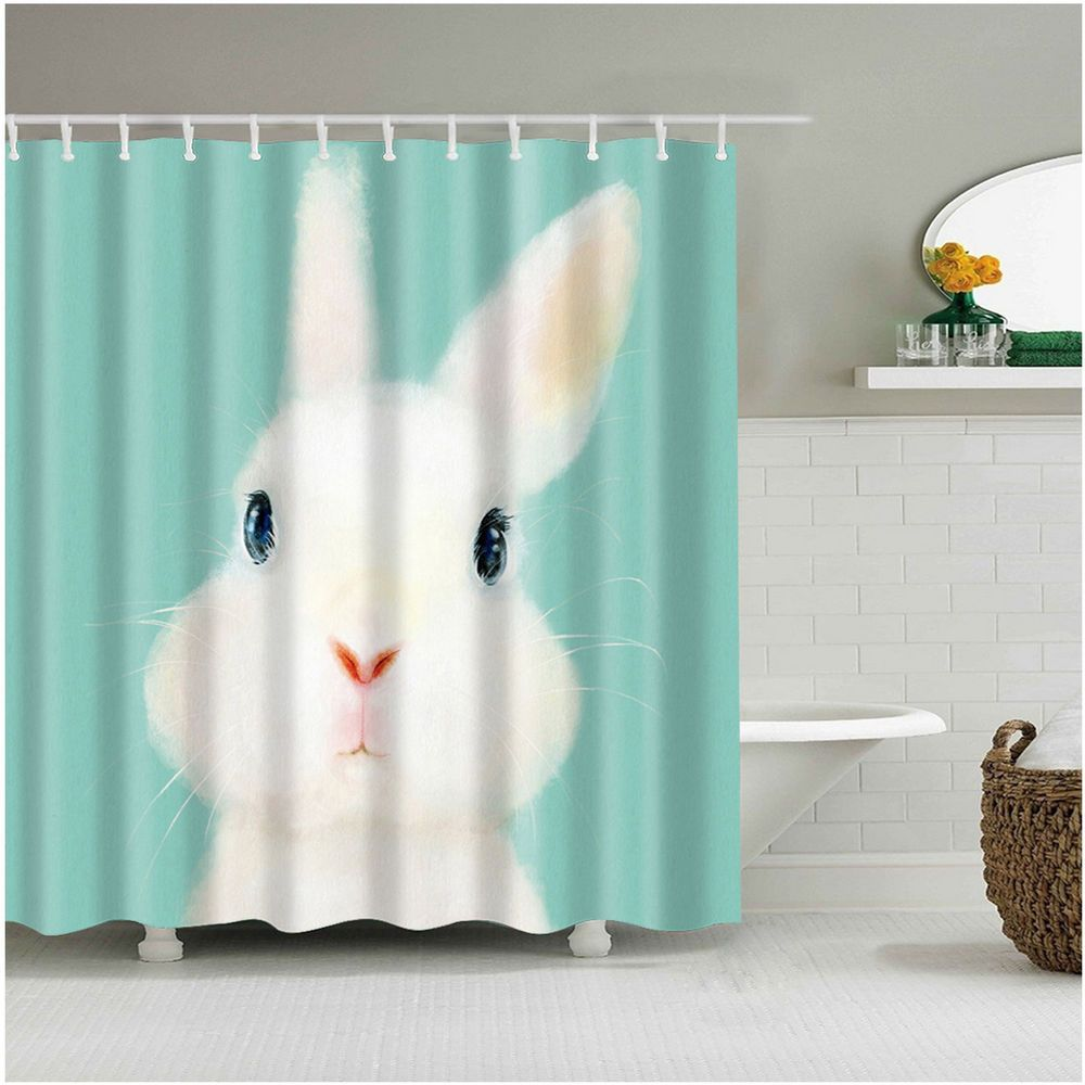 Details About Shower Curtain Art Bathroom Decor White Rabbits