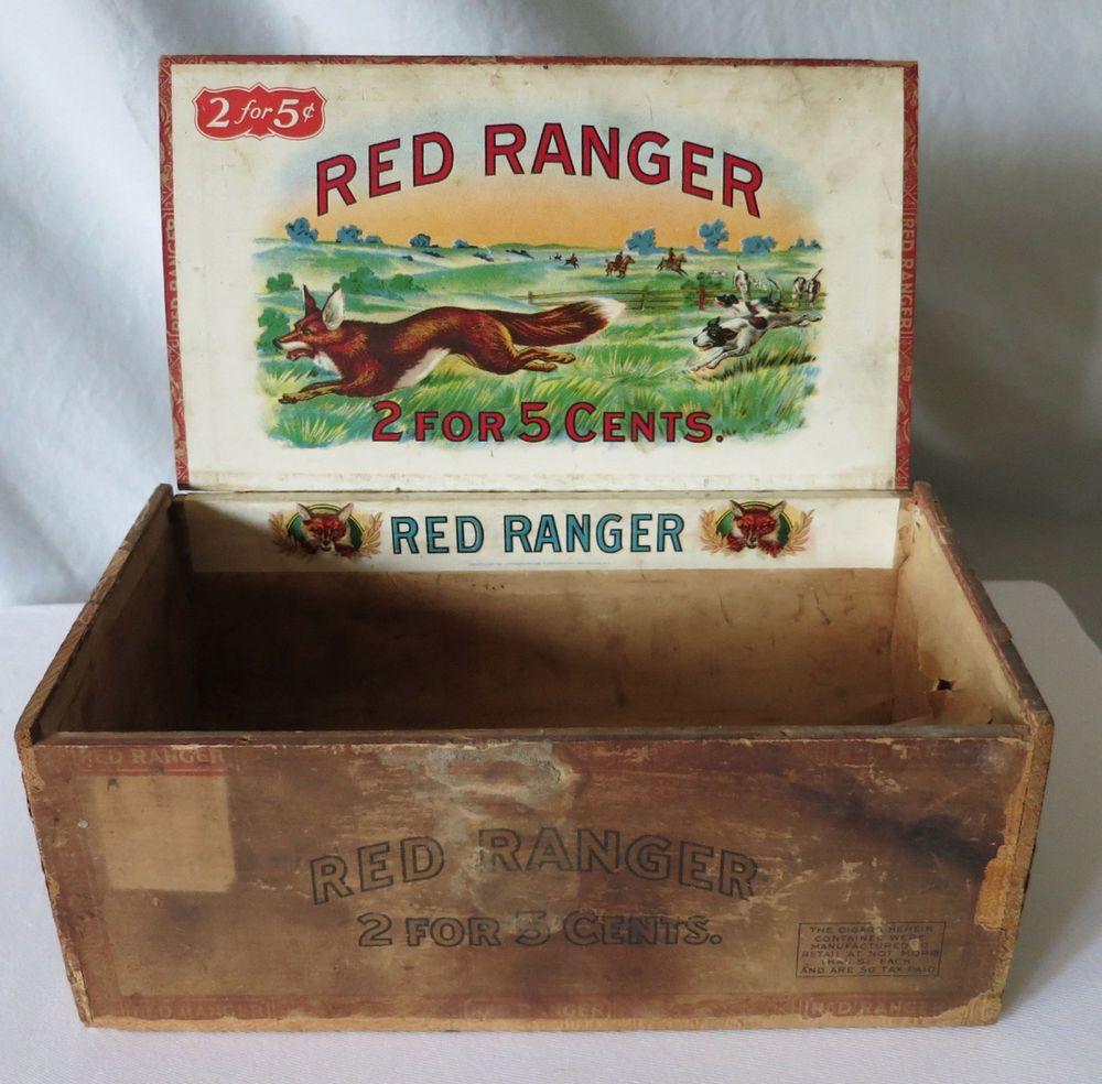 Red Ranger Vintage Cigar Box 2 For 5 Cents Vintage Cigar Box Cigar Box Vintage