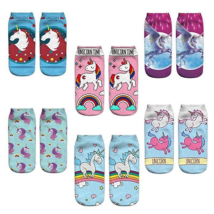 JTAmigo 6er Pack Damen Socken Einhorn Motive Einhorn