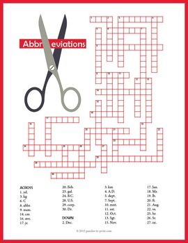 Abbreviations crossword puzzle student learning extra credit and abbreviations crossword puzzle urtaz Gallery