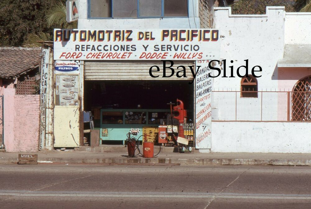 1972 Mexico Street Scene Service Station Car Dealer Ford Chevrolet