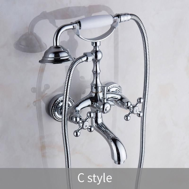 Chrome Wall Mounted Bathroom Shower Faucet Tub Faucet Hand Shower Set Mixer Tap
