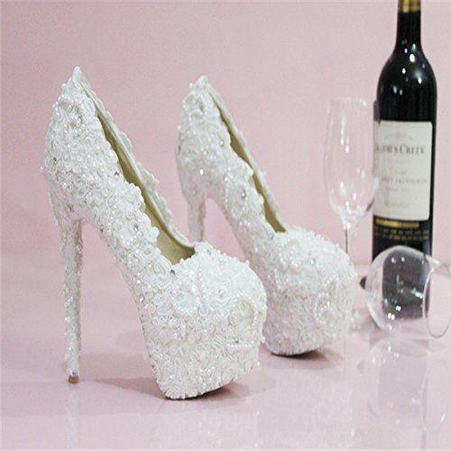 Damen Schuhe Pumps Hochzeit Festlich Party Weiß mit Perlen