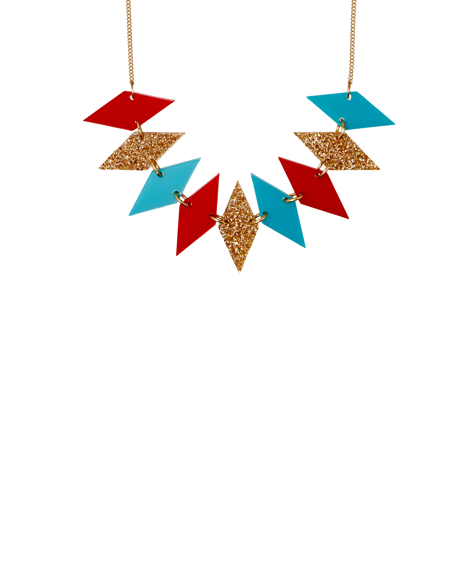 Harlequin Bunting Necklace. Brights - Add a flash of festive fun to your look with the Harlequin Bunting Necklace. Inspired by mid century Christmas decorations, diamonds are laser cut in bright red, turquoise and glitter gold acrylic and hand linked to a golden tone chain. Exclusive to Tatty Devine